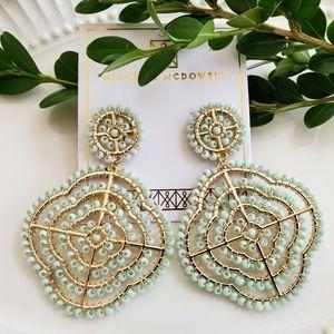 Mint Bead Statement Earrings